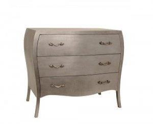 CHAMBERY THREE DRAW CHEST OF DRAWERS IN SILVER
