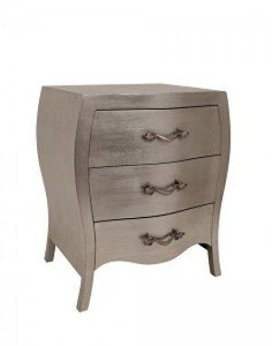 CHAMBERY THREE DRAWER BEDSIDE TABLE IN SILVER