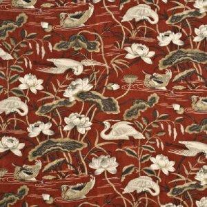 GP & J BAKER HERON & LOTUS FLOWER LINEN FABRIC BP10308
