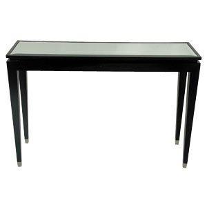Black mirror top console table alexander interiors for Black and mirrored console table