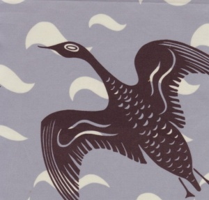 Borderline Black Goose Fabric