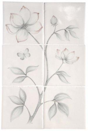 MARLBOROUGH TILES BOTANICAL ETCHINGS CLEMATIS & PASSION FLOWER TILES