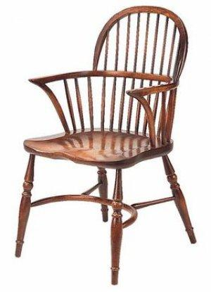 LOW BACK WINDSOR STICK BACK ARMCHAIR