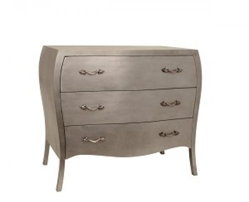 Chambery three draw chest of drawers in silver alexander