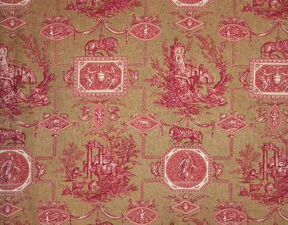 Buy braquenie les muses et le lion toile de jouy fabric alexander interiors d - Toile de jouy decoration ...
