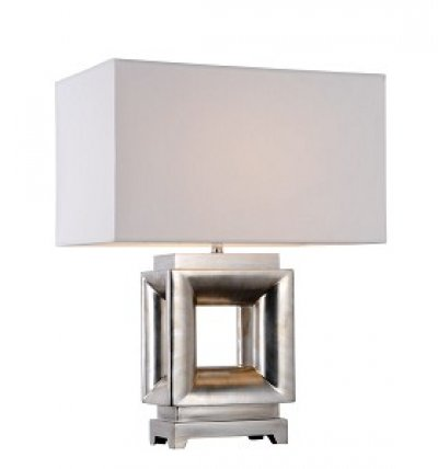 ANTIQUE SILVER SQUARE TABLE LAMP