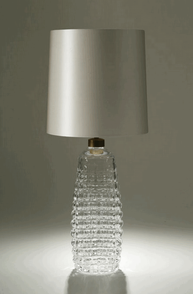 CLEAR GLASS HONEYCOMB TABLE LAMP
