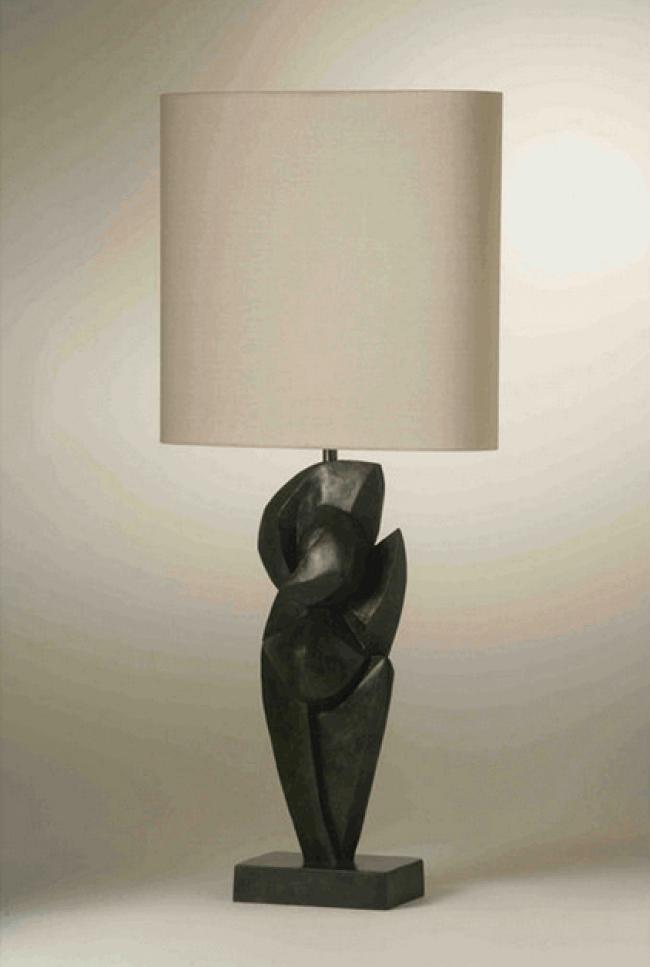 danseur table lamp porta romana wood brass silver leather lamps. Black Bedroom Furniture Sets. Home Design Ideas