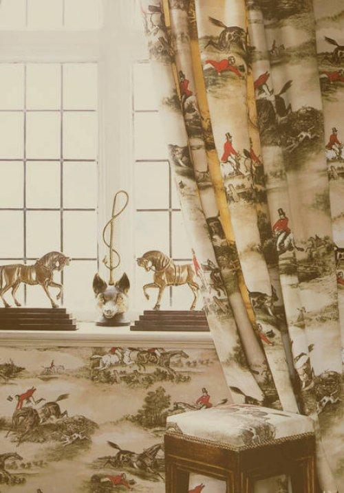 Lewis wood hunting scenes fabric