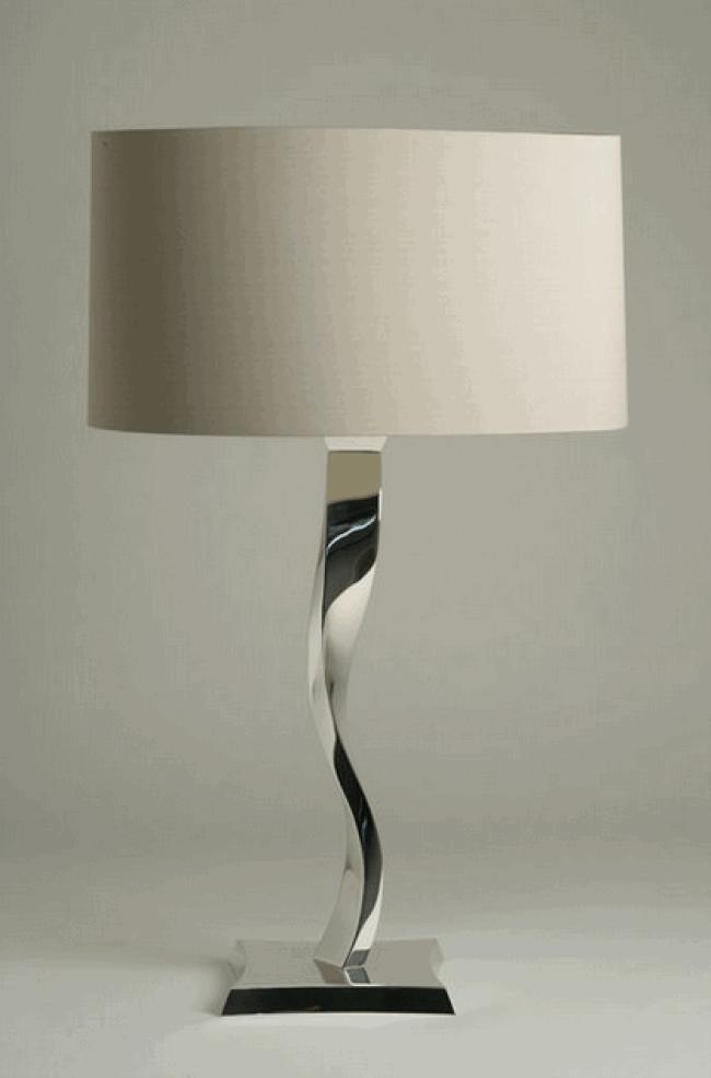 small sculpted metal ribbon lamp porta romana wood