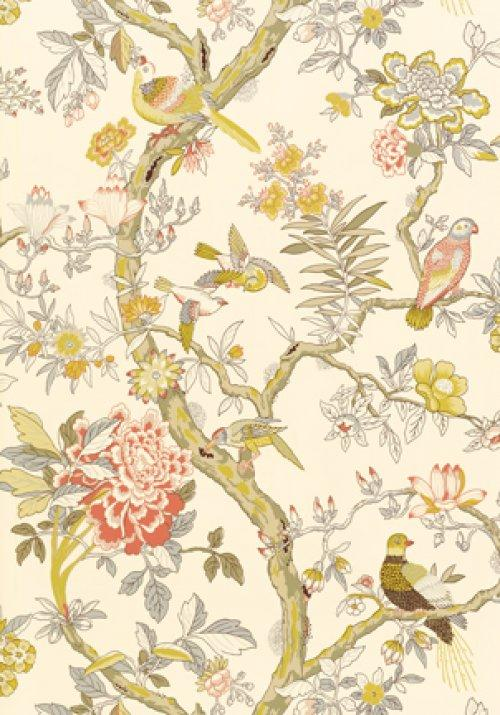 Thibaut anniversary papagayo wallpaper alexander interiors for Oriental style wallpaper uk