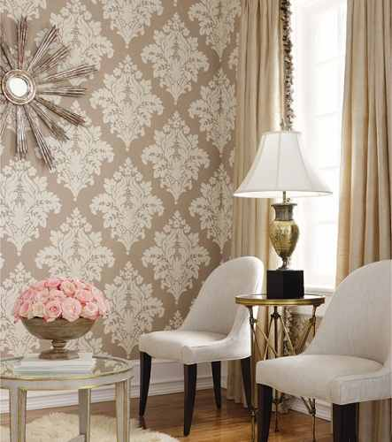 Buy Custom Designer Wallpapers In Sydney: Thibaut Filigree Sydney Damask Wallpaper Alexander