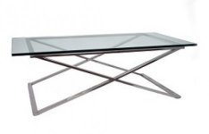 GLASS TOP COFFEE TABLE WITH STAINLESS STEEL LEGS