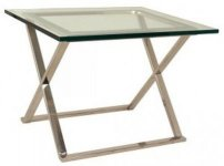 GLASS TOP SIDE TABLE WITH STAINLESS STEEL LEGS