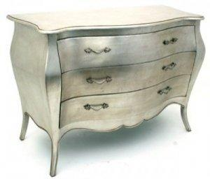 LIMOGES 3 DRAWER CHEST SILVER LEAF