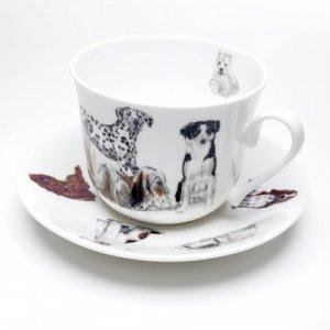ROY KIRKHAM BONE CHINA | DOGS GALORE CHATSWORTH LARGE BREAKFAST CUP & SAUCER