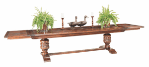 JACOBEAN BULBOUS LEG EXTENDING TABLE WITH TWO END LEAVES