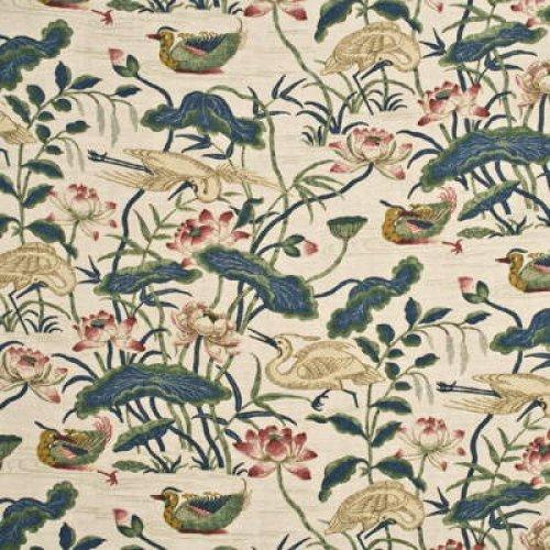 Gp J Baker Heron Lotus Flower Fabric Alexander Interiors